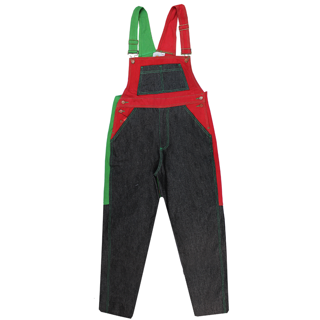 Cross Colours Color Block Overalls - Black/Red/Green