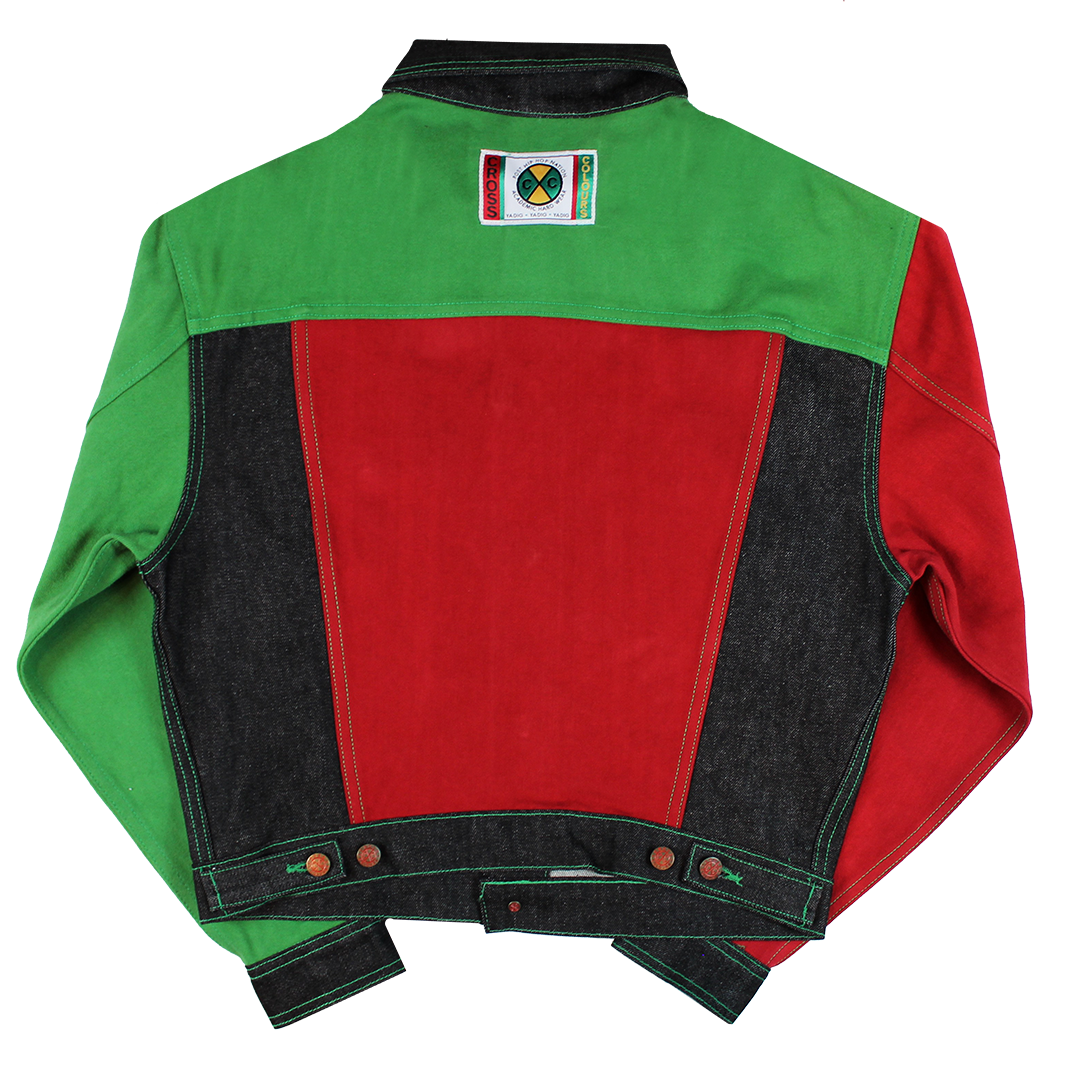 Cross Colours Color Block Denim Jacket - Black/Red/Green