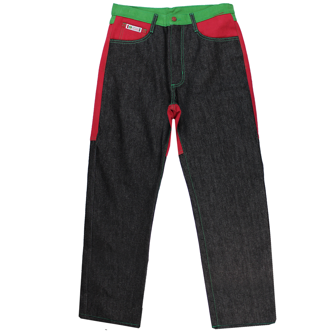 Cross Colours Color Block Jeans - Black/Red/Green