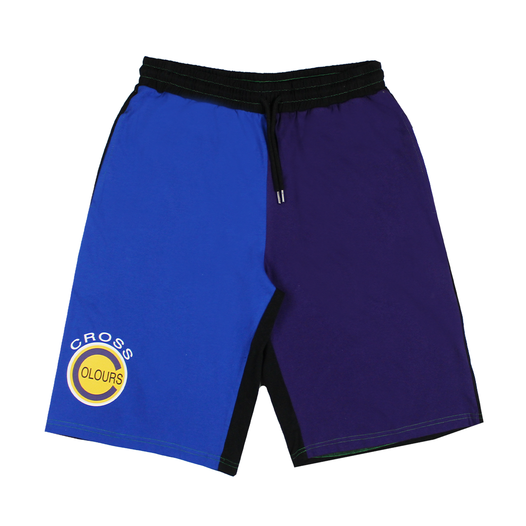 Cross Colours Color Block Baseball Short - Purple/Blue