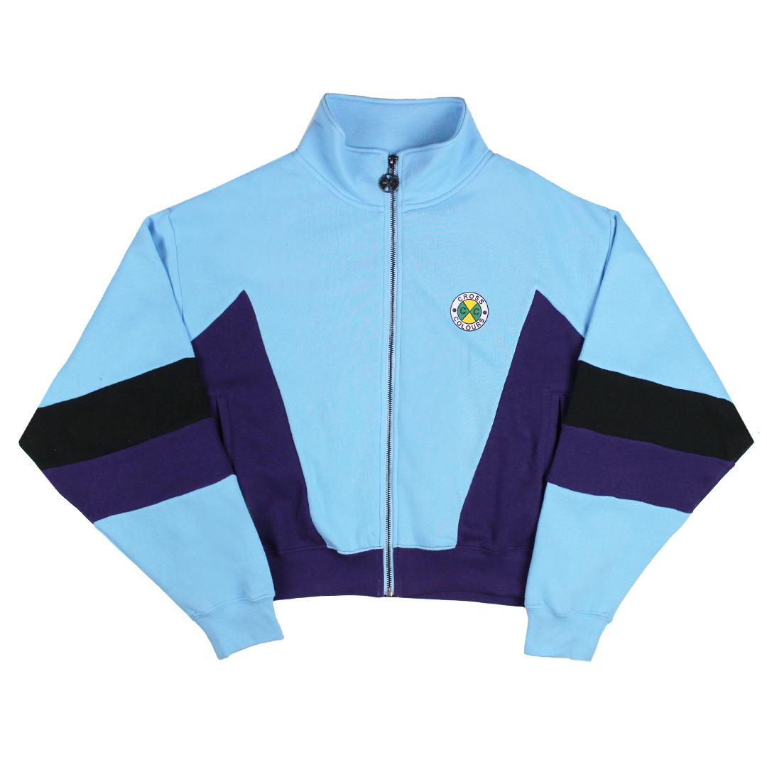 Cross Colours Color Block Fleece Track Jacket - Blue