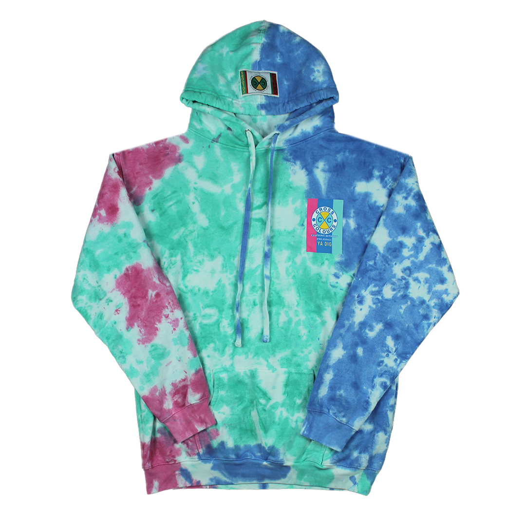 Cross Colours Flag Logo Hoodie - Tie Dye