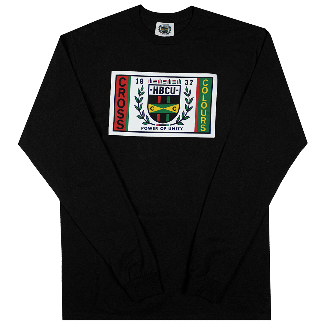 Cross Colours HBCU Flag Long Sleeve T-Shirt - Black