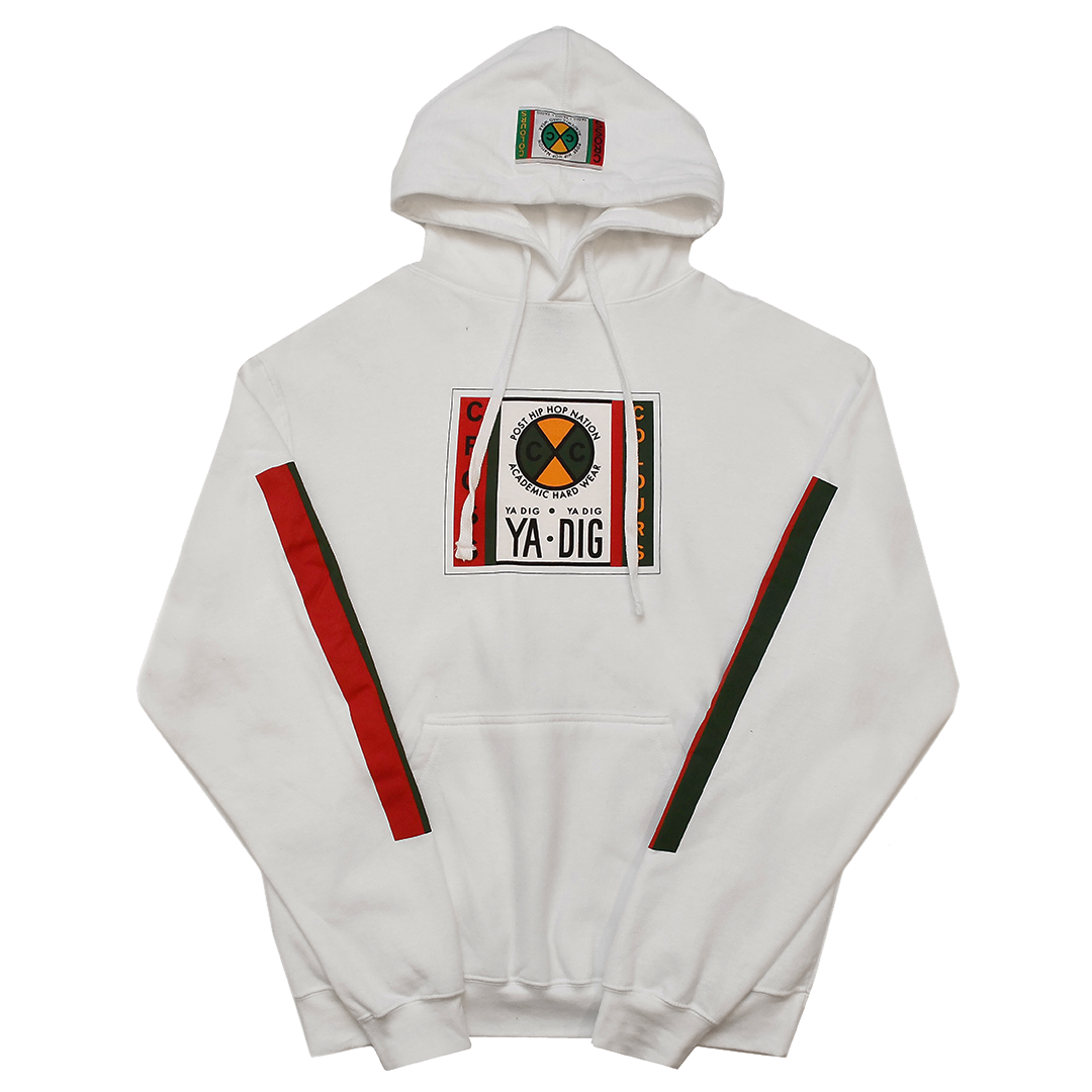 Cross Colours Label Logo Pullover Hoodie - White