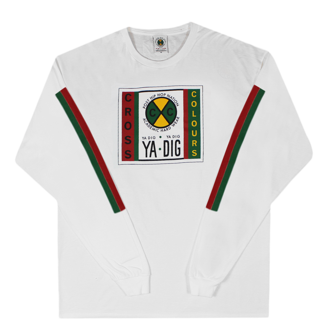 Cross Colours Label Logo L/S T-Shirt With Stripe Sleeves - White