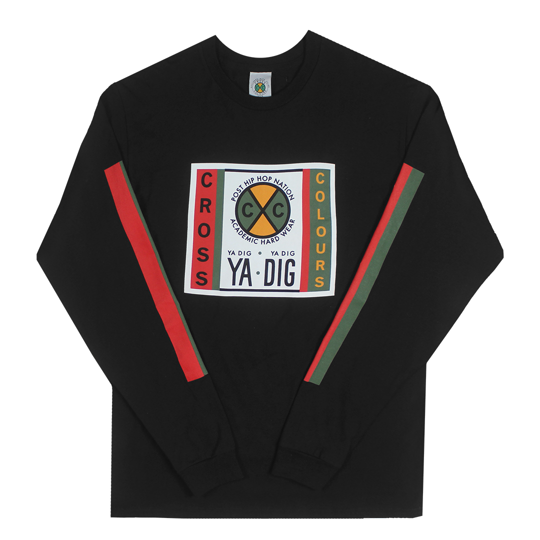 Cross Colours Label Logo L/S T-Shirt With Stripe Sleeves - Black