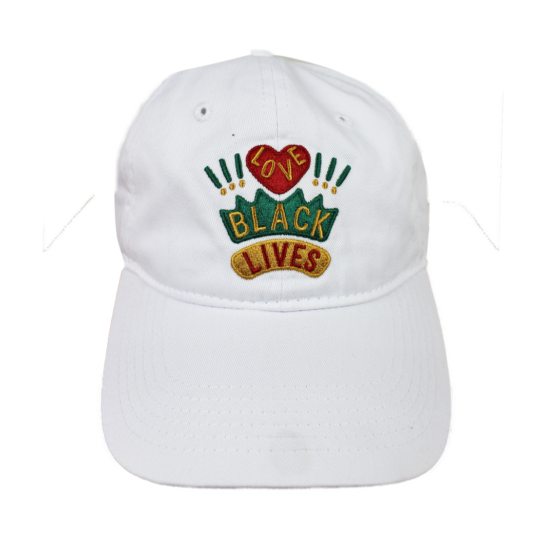 Cross Colours Love Black Lives Dad Hat - White