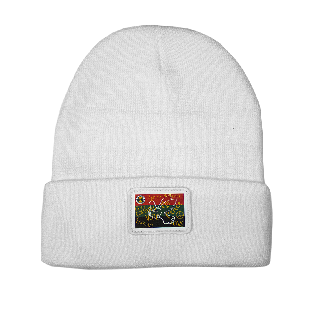 Cross Colours Love Peace Beanie - White