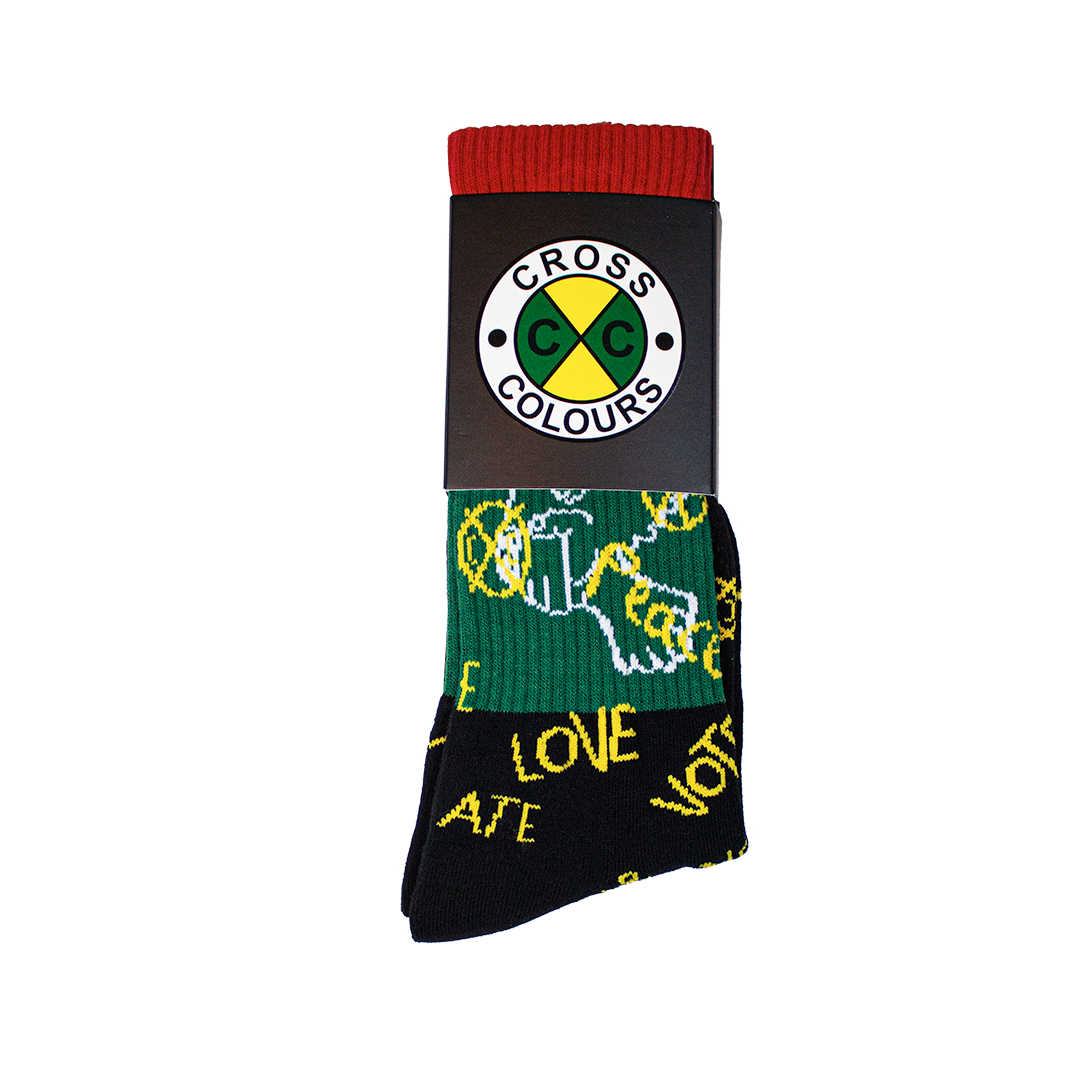 Cross Colours Love Peace Crew Socks - Multi