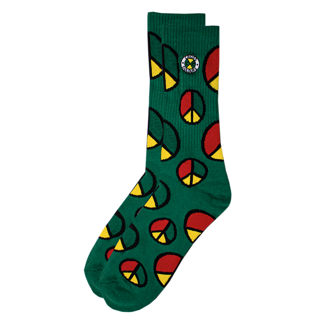 Cross Colours Peace In The Hood Crew Socks - Green
