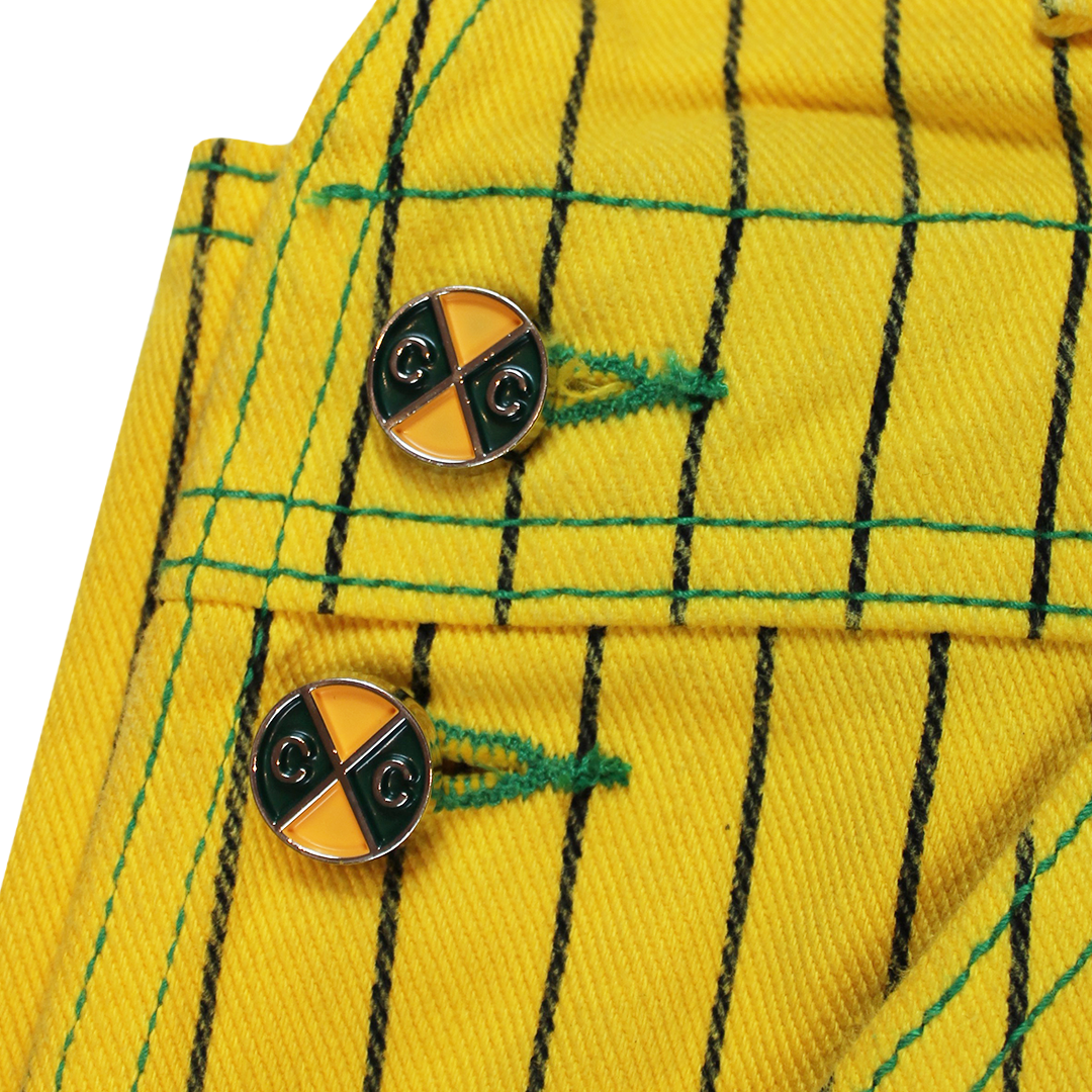 Cross Colours Classic Brushed Twill Overalls - Yellow Pinstripe