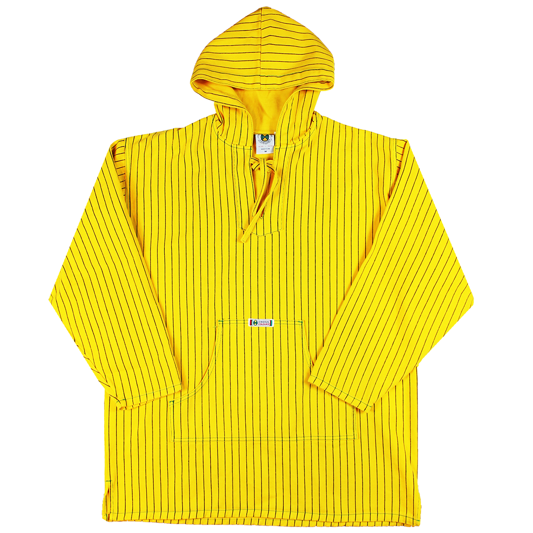 Cross Colours Brushed Twill Poncho - Yellow Pinstripe