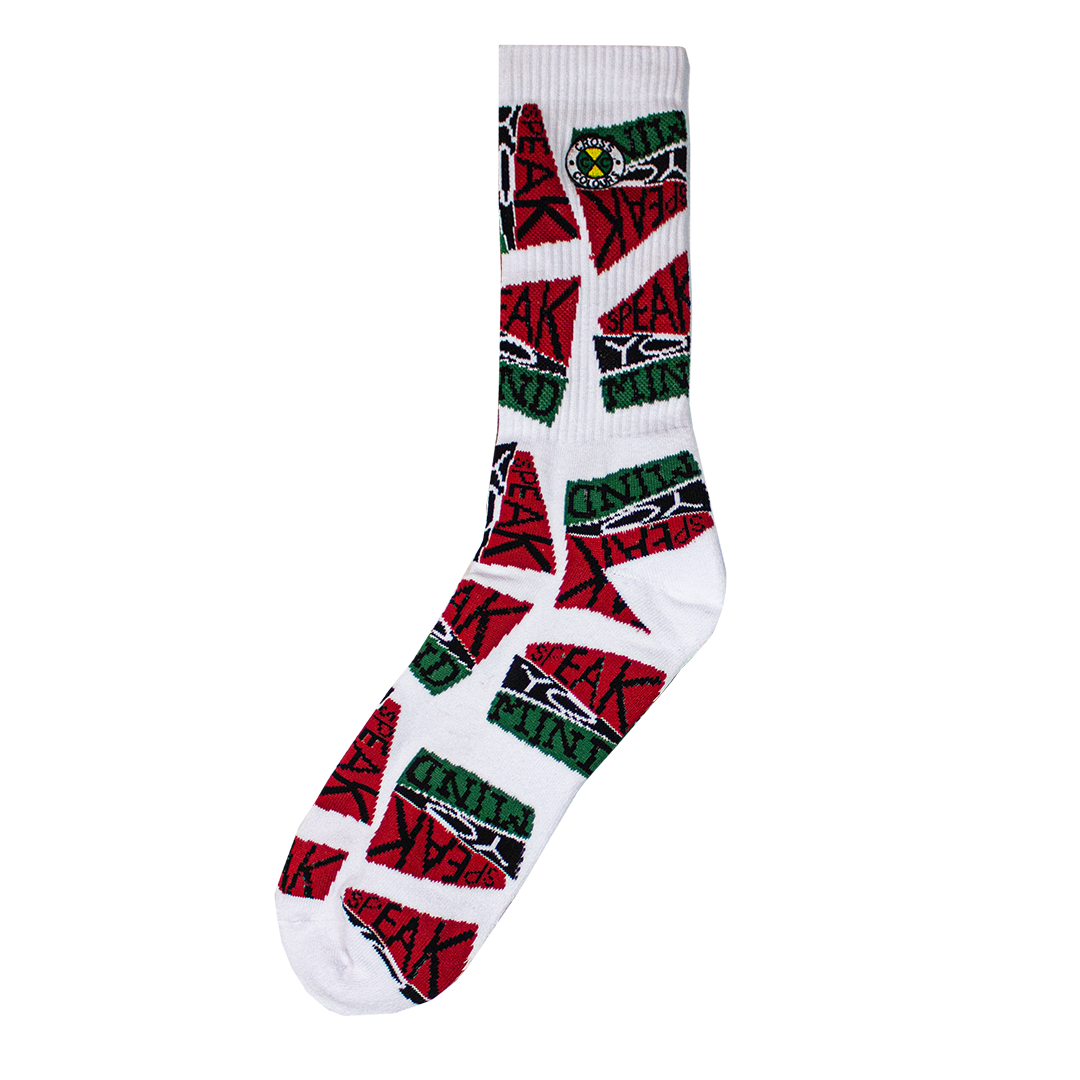 Cross Colours Speak Yo Mind Crew Socks - White