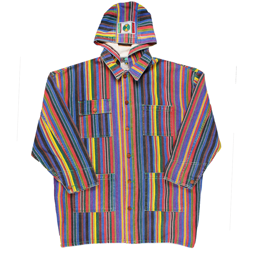 Cross Colours Stripe Hooded Barn Jacket - Multi