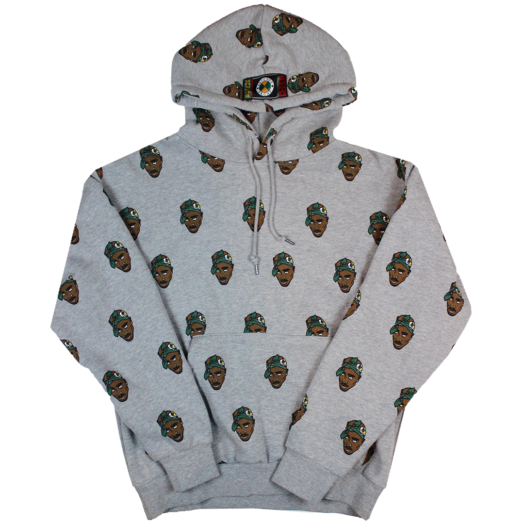 Cross Colours Tupac Allover Hoodie - Grey