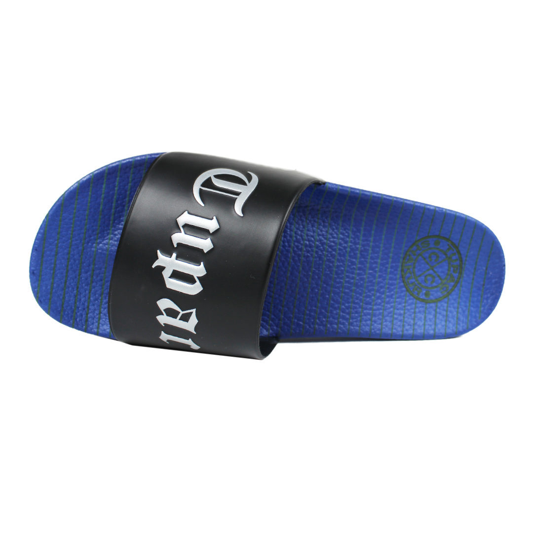 Cross Colours Tupac Metallic Slides - Black/Blue