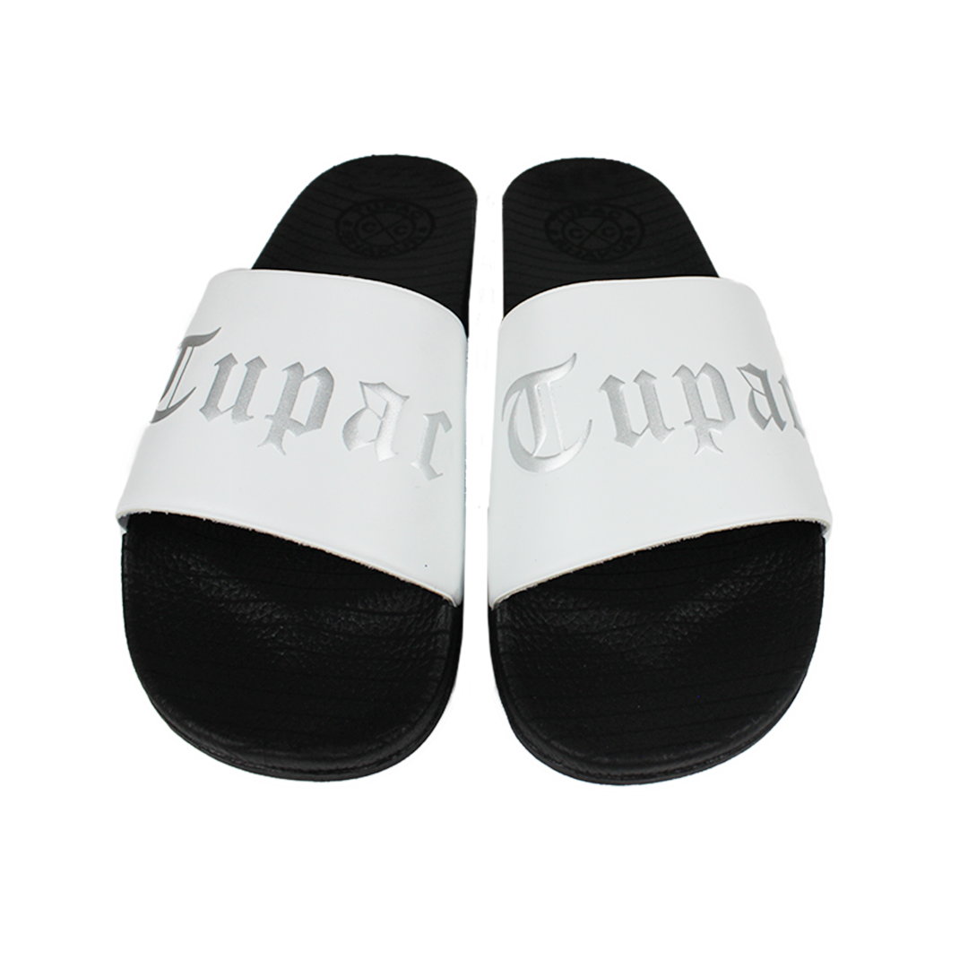 Cross Colours Tupac Metallic Slides - White/Black