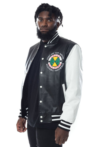 Cross Colours Do Baseball Leather Jacket - Black/White