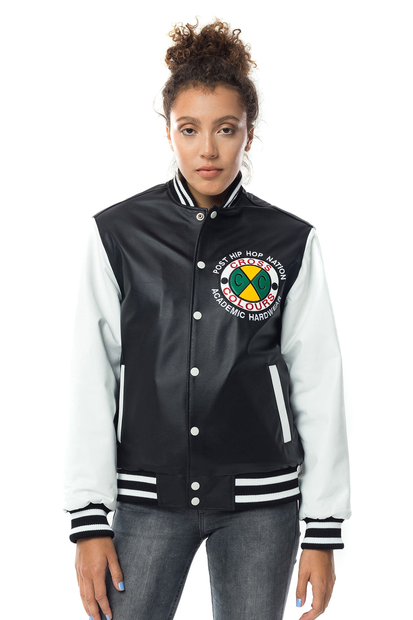 Cross Colours Do Baseball Leather Jacket W - Black/White