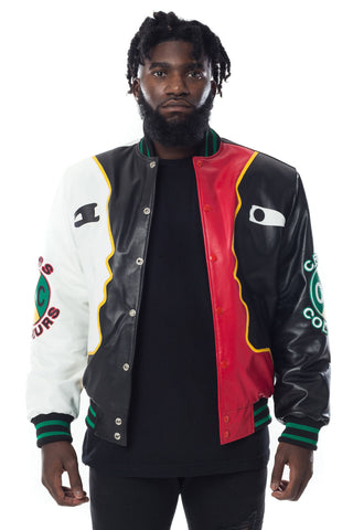Cross Colours Face 2 Face Leather Jacket - Multi