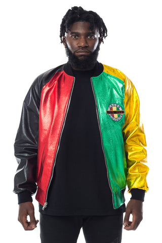 Cross Colours Living Phat Metallic Leather Jacket - Multi