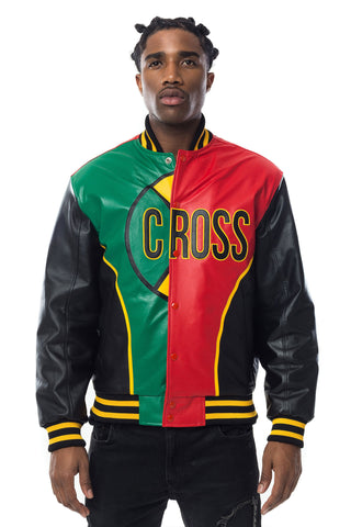 Cross Colours The Big C Leather Jacket - Multi