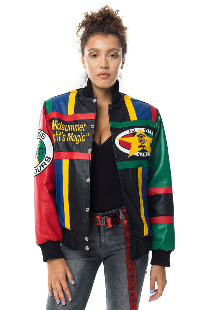 Cross Colours Midnight Summers Magic Leather Jacket W Multi