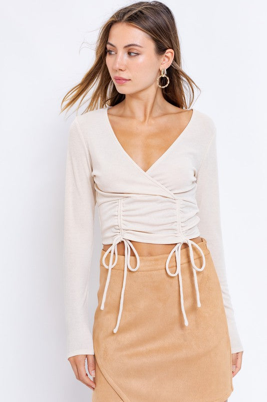 Autumn Surplice Ruched Top