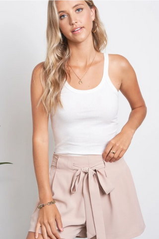 Blush High Waisted Bow Tie Shorts