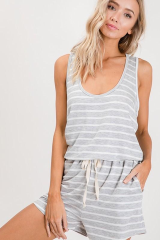 Gray or Denim Relaxed Fit Striped Rompers