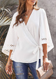 Black or White Bell Sleeve Wrap Blouse