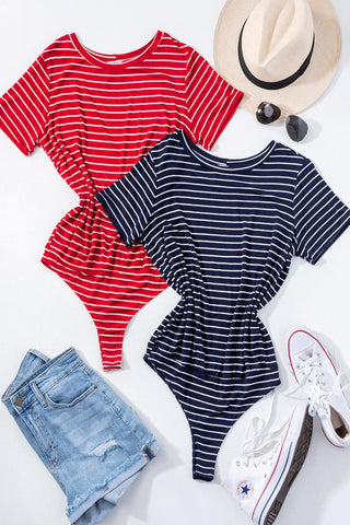Striped Short Sleeve Body Suits