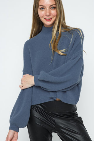 Puff Sleeve Blue Fleece Sweater