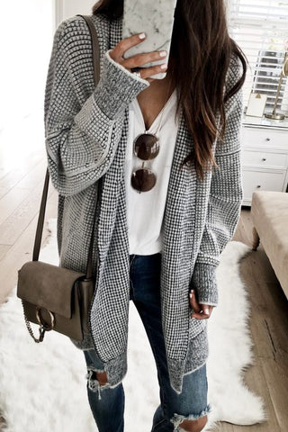 Oversized Gray and Black Woven Cardigan