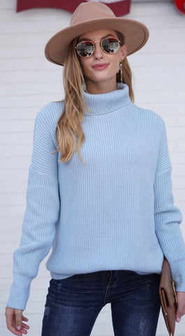 Blue Slouchy Turtle Neck Sweater