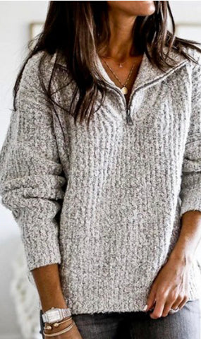 Half Zip Puff Sleeve Sweater
