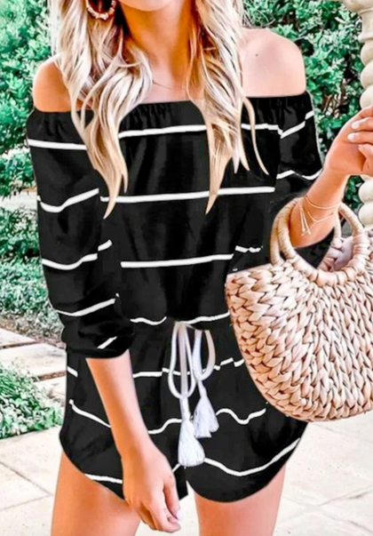 Off Shoulder Striped Romper
