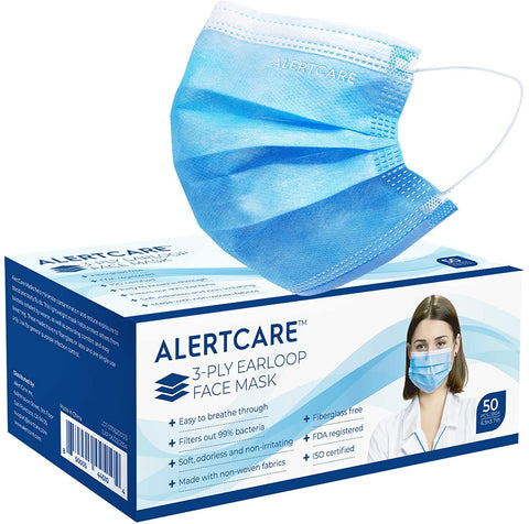 Alertcare 3-Ply Earloop Face Masks (50 Pcs) - Alert Care Inc