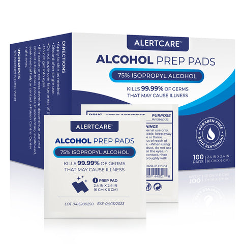 Alertcare Alcohol Prep Pads, 75% Alcohol Cotton Slices, 100 Pcs (Normal Size) - Alert Care Inc