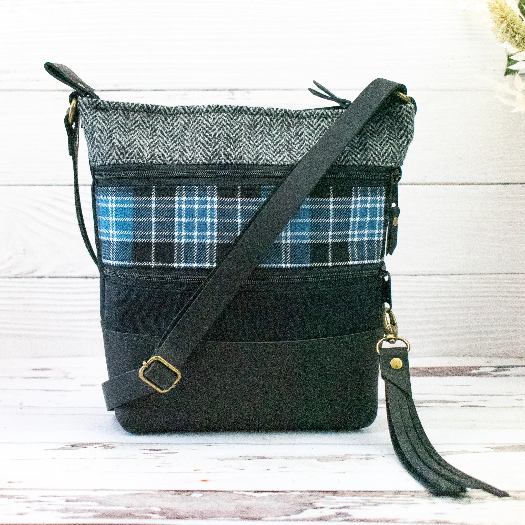 Tweed and Tartan Crossbody Bag - The Clark