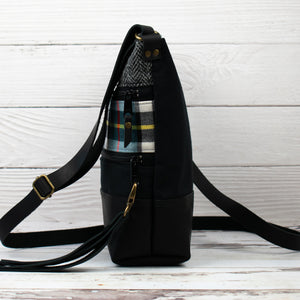 Tweed and Tartan Crossbody Bag - The Thompson (Blue)