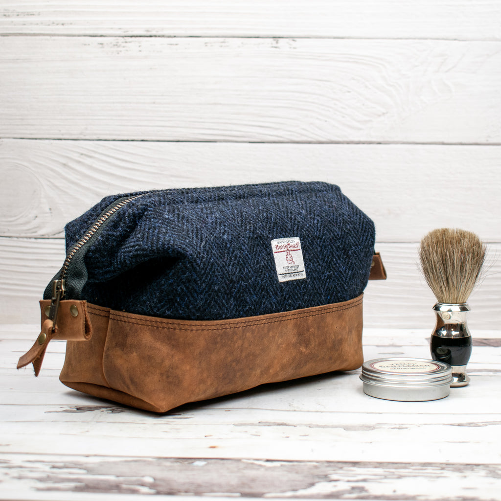 Harris Tweed Gael Bag - Navy/Black Herringbone - Made to Order