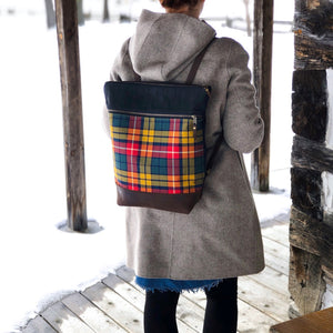 Tartan backpack being worn buchanan tartan