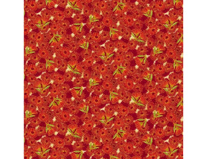 "The Textile Pantry ""Under the Australian Sun Collection - Flowering Gum in Red Multi"" Fabric by Leesa Chandler"