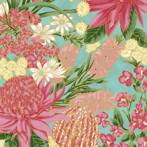 "The Textile Pantry ""Under the Australian Sun Collection - Floral in Teal/Pink"" Fabric by Leesa Chandler"