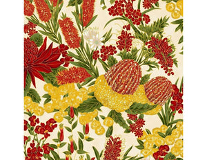 "The Textile Pantry ""Under the Australian Sun Collection - Floral in Red/Ivory"" Fabric by Leesa Chandler"