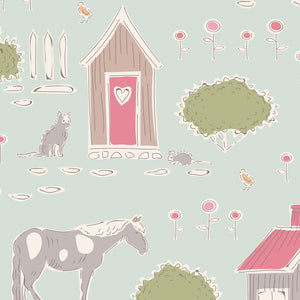 "Tilda ""Tiny Farm - Feature Print in Mist"" Quilt Collection Fabric by Tone Finnanger"