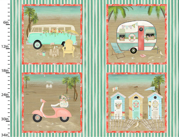 Arriving Soon - Three Wishes Fabric Beach Travel Collection Panel Beach Scenes