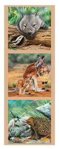 "Devonstone Collection ""Wildlife Art 2 - Wombat, Kangaroos and Echidna"" Australiana Fabric Panels by Natalie Jane Parker"