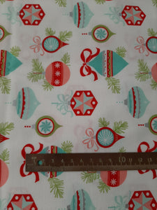 "Pre Cut Fabric 1 mtr Moda Fabrics + Supplies ""Vintage Holiday Ornaments"" in White by Bonnie and Camille"
